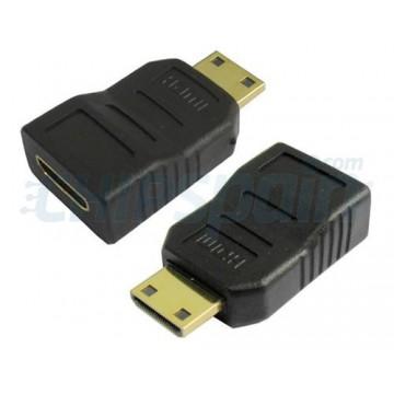 Adaptador Mini HDMI fêmea ao masculino do HDMI mini.