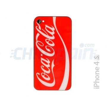Vidro e frame traseiro iPhone 4S -Coke vermelho