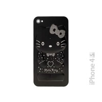 Cristal y Marco Trasero iPhone 4S -Hello Kitty Negro 3D