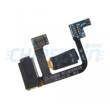 Cabo flex com conector Jack/fone de ouvido/sensor Samsung Galaxy Gio
