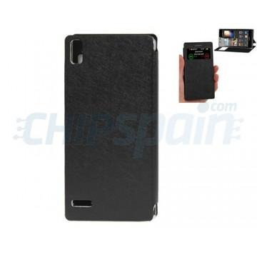 Funda Flip Stand Visor Llamada Huawei Ascend P6 -Negro