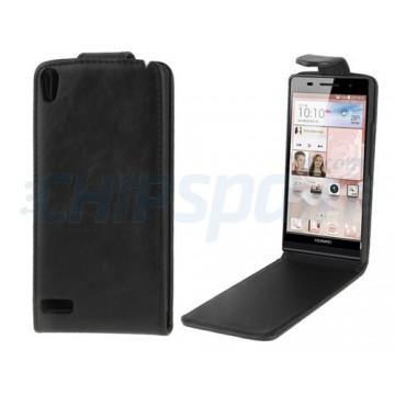 Huawei Leather Case Flip Simil Huawei Ascend P6 -Black