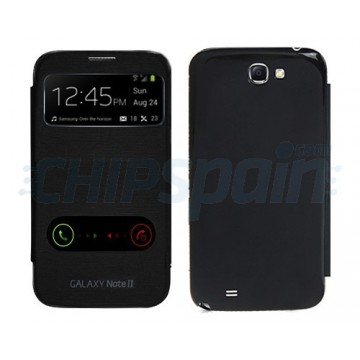 Flip Case Battery Cover S-View Samsung Galaxy Note 2 -Black