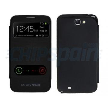 Tapa Bateria Flip con Visor LLamada Samsung Galaxy Note 2 -Negro