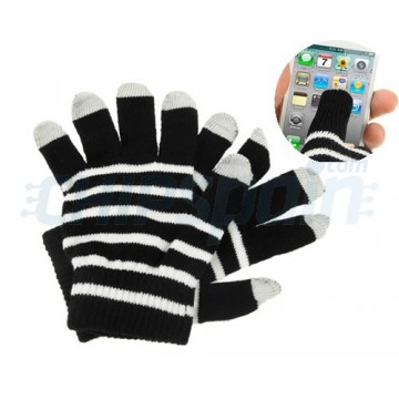Touch Gloves for TouchScreen -Stripes White