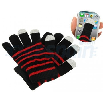 Touch Gloves for TouchScreen -Stripes Red