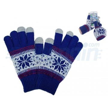 Touch Gloves for TouchScreen -Snowflake Blue