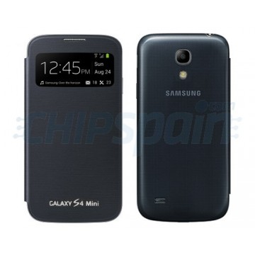 Tapa Bateria Flip con Visor Llamada Samsung Galaxy S4 Mini -Negro