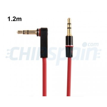 Cable Audio Jack 3.5 Macho-Macho 90º Rojo