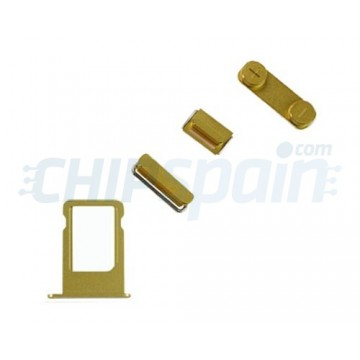 Pack Buttons + SIM Card Tray iPhone 5/iPhone 5S -Gold