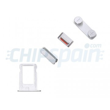 Pack Buttons + SIM Card Tray iPhone 5/iPhone 5S -Silver