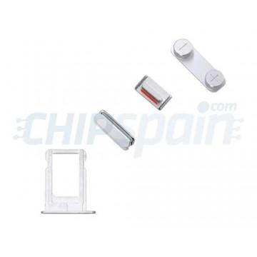 Pack de Botones + PortaSIM iPhone 5/iPhone 5S Plata