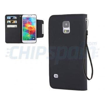 Funda Piel Lisa con Tarjetero Samsung Galaxy S5 -Negro